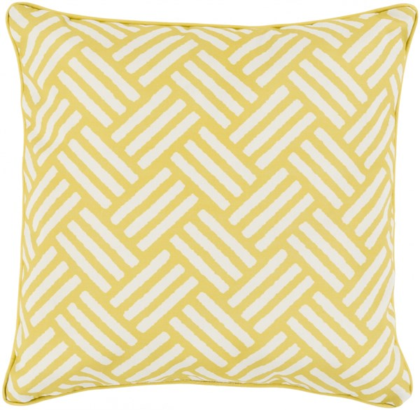 Basketweave Gold Ivory Polyester Throw Pillow - 20x20x5 BW003-2020