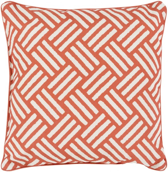 Basketweave Rust Ivory Polyester Throw Pillow - 16x16x4 BW004-1616