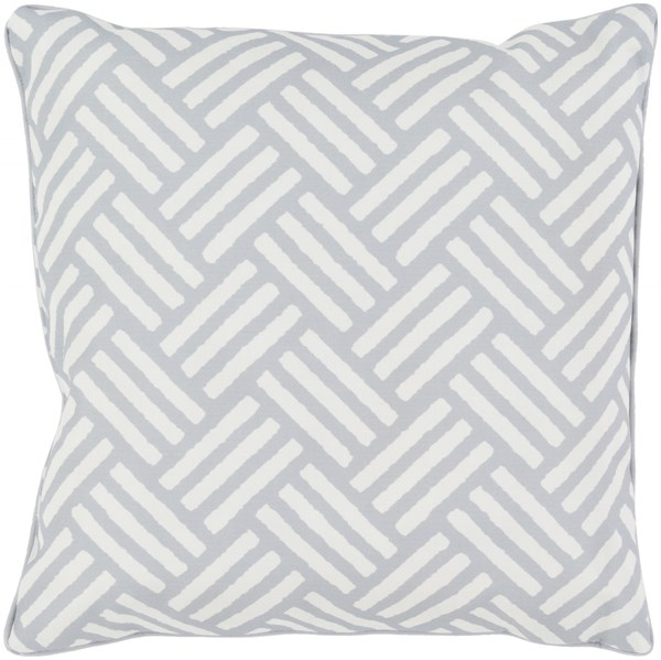 Basketweave Light Gray Ivory Polyester Throw Pillow - 16x16x4 BW005-1616