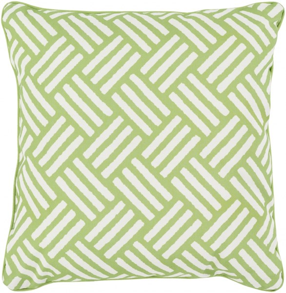 Basketweave Lime Ivory Polyester Throw Pillow - 20x20x5 BW006-2020