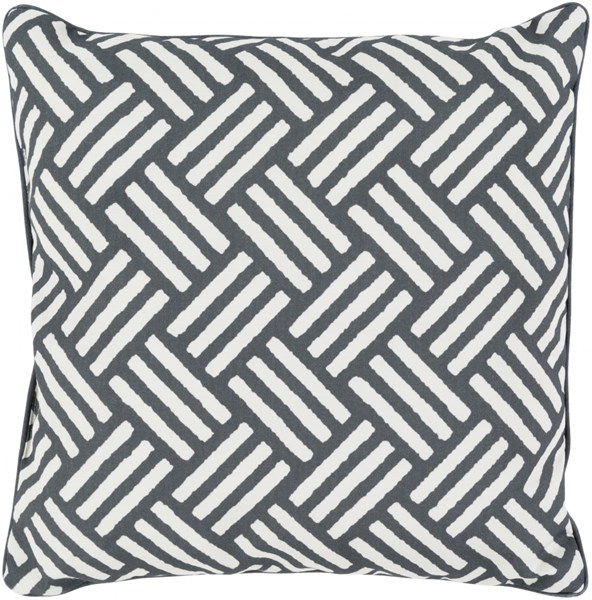 Basketweave Black Ivory Polyester Throw Pillow - 16x16x4 BW007-1616