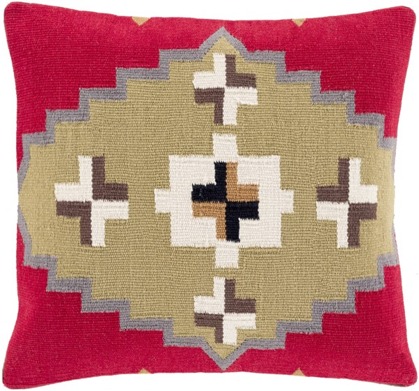 Cotton Kilim Cherry Ivory Gray Poly Cotton Throw Pillow - 22x22x5 CK002-2222P