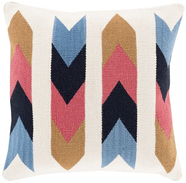 Cotton Kilim Slate Blue Taupe Down Cotton Throw Pillow - 22x22x5 CK004-2222D