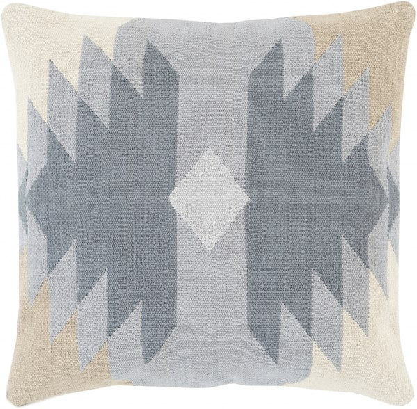 Cotton Kilim Charcoal Gray Ivory Poly Cotton Throw Pillow - 18x18x4 CK005-1818P