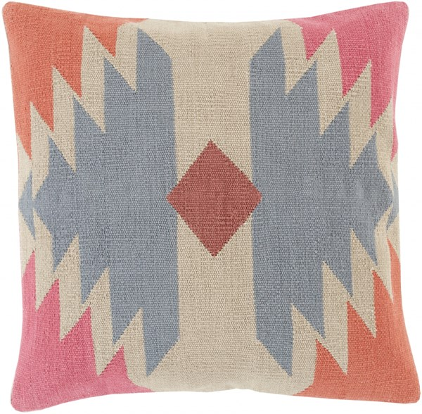 Cotton Kilim Slate Beige Cherry Down Cotton Throw Pillow - 22x22x5 CK006-2222D