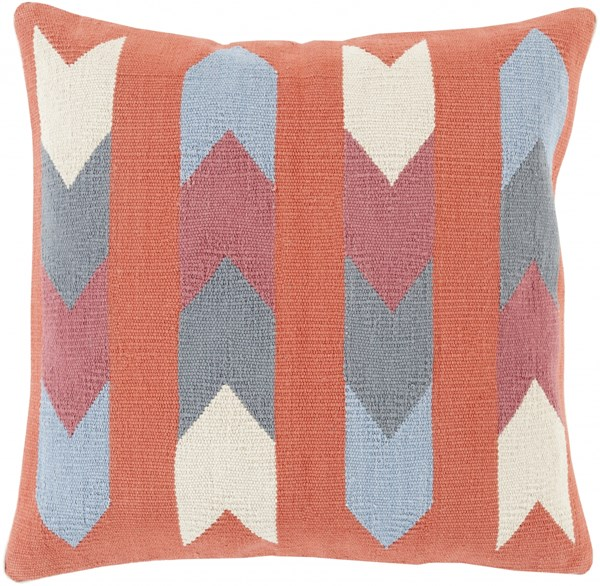 Cotton Kilim Global-Inspired Rust Beige Slate Cotton Throw Pillows 13437-VAR1