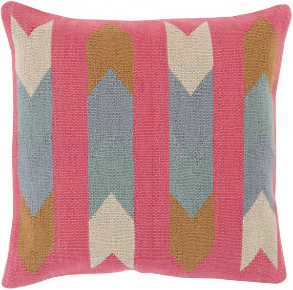 Cotton Kilim Beige Olive Slate Poly Cotton Throw Pillow - 18x18x4 CK009-1818P