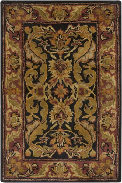 Ancient Treasures Beige Chocolate Olive Wool Area Rug (L 36 X W 24) A103-23