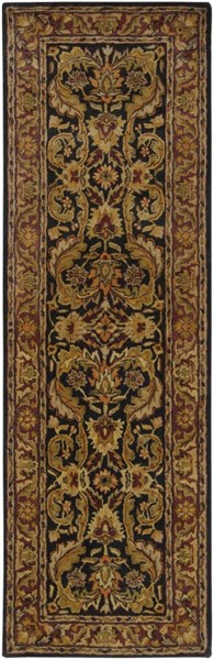 Ancient Treasures Beige Chocolate Olive Wool Runner (L 96 X W 30) A103-268