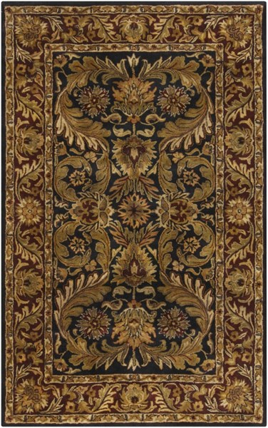 Ancient Treasures Beige Chocolate Olive Wool Area Rug (L 96 X W 60) A103-58
