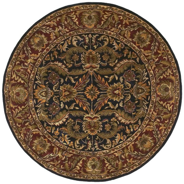 Ancient Treasures Beige Olive Wool Round Area Rug (L 96 X W 96) A103-8RD