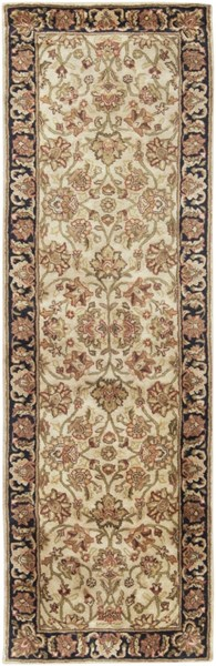 Ancient Treasures Beige Black Gold Wool Runner (L 96 X W 30) A116-268