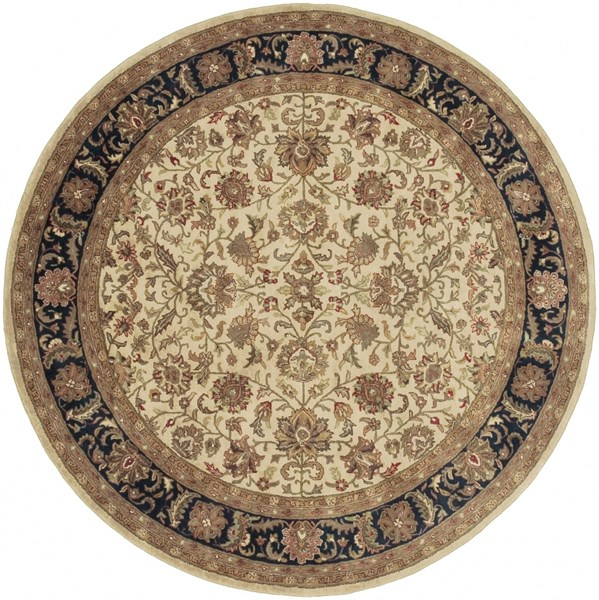 Ancient Treasures Beige Black Gold Wool Round Area Rug (L 96 X W 96) A116-8RD