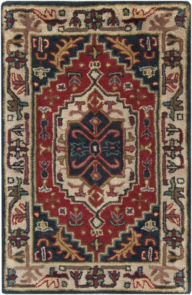 Ancient Treasures Traditional Charcoal Beige Olive Wool Rugs 1135-VAR1