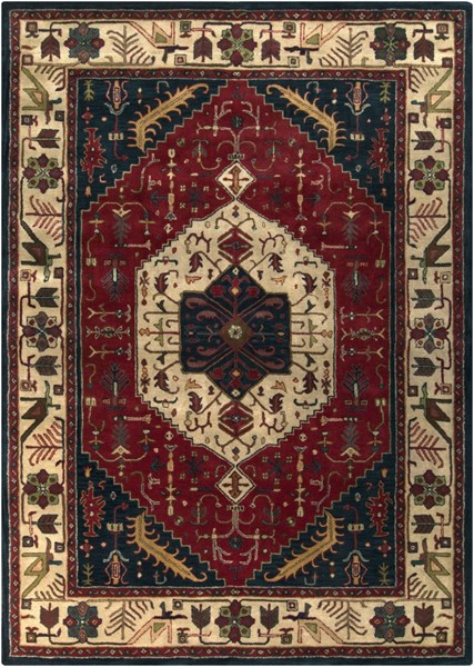 Ancient Treasures Charcoal Beige Olive Wool Area Rug (L 132 X W 96) A134-811