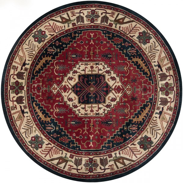 Ancient Treasures Charcoal Beige Wool Round Area Rug (L 96 X W 96) A134-8RD