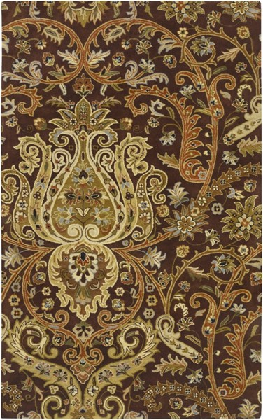 Ancient Treasures Chocolate Beige Ivory Wool Area Rug (L 96 X W 60) A141-58