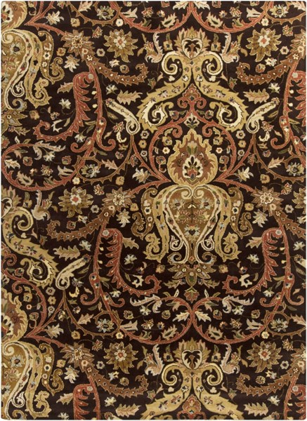 Ancient Treasures Chocolate Beige Ivory Wool Area Rug (L 132 X W 96) A141-811
