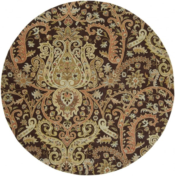Ancient Treasures Beige Ivory Wool Round Area Rug (L 96 X W 96) A141-8RD