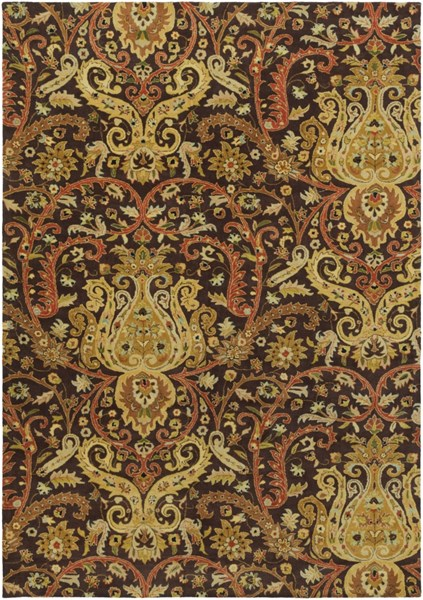 Ancient Treasures Chocolate Beige Ivory Wool Area Rug (L 156 X W 108) A141-913