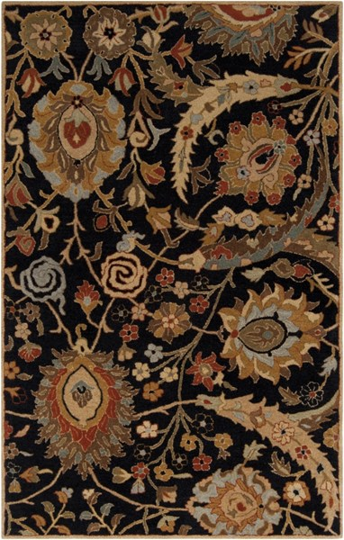 Ancient Treasures Charcoal Gold Cherry Wool Area Rug (L 96 X W 60) A154-58