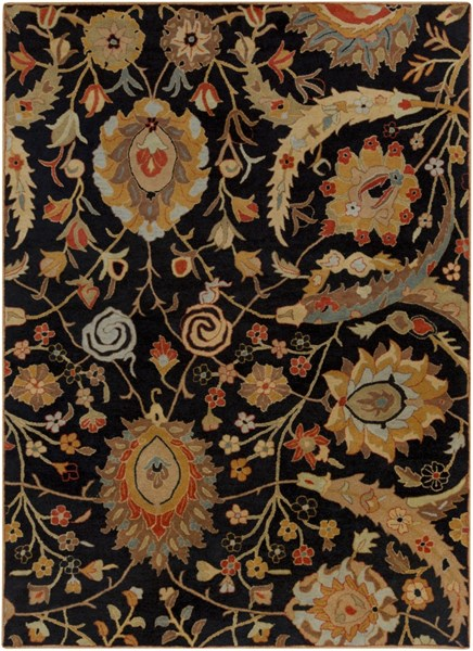 Ancient Treasures Charcoal Gold Cherry Wool Area Rug (L 132 X W 96) A154-811