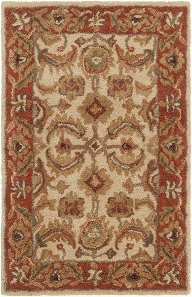 Ancient Treasures Beige Gold Olive Wool Area Rug (L 36 X W 24) A160-23