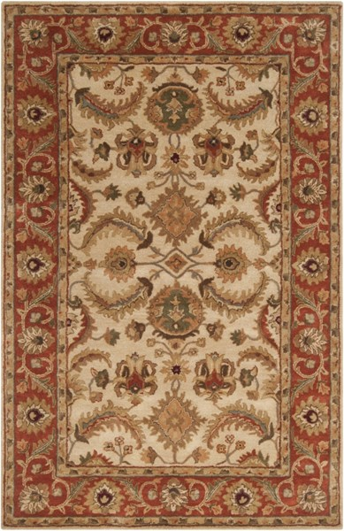 Ancient Treasures Beige Gold Olive Wool Area Rug (L 96 X W 60) A160-58
