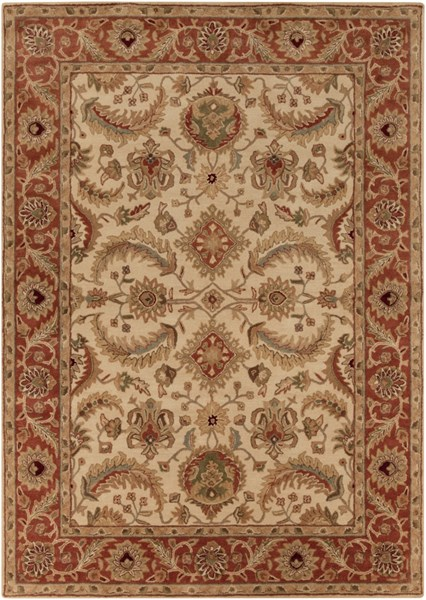 Ancient Treasures Beige Gold Olive Wool Area Rug (L 132 X W 96) A160-811