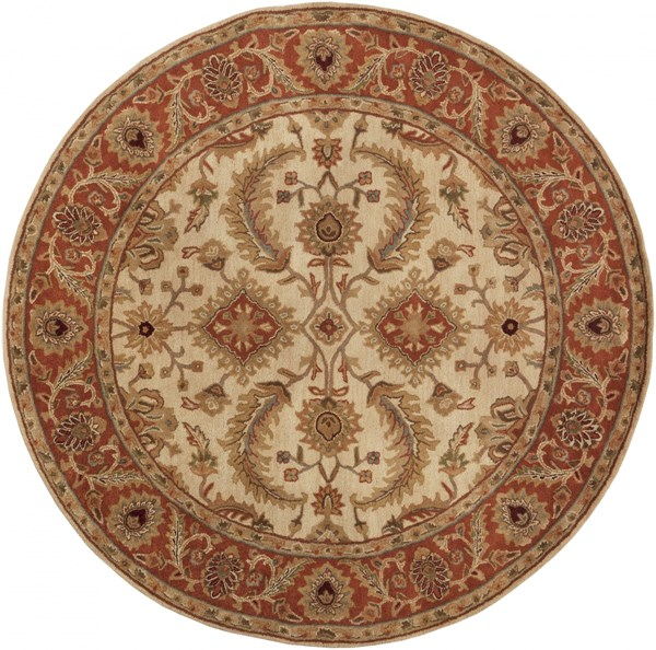 Ancient Treasures Beige Gold Olive Wool Round Area Rug (L 96 X W 96) A160-8RD