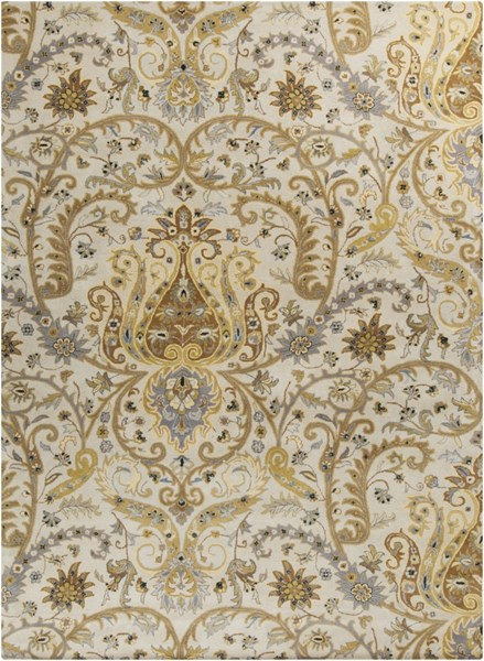 Ancient Treasures Gray Lime Beige Wool Area Rug (L 132 X W 96) A165-811