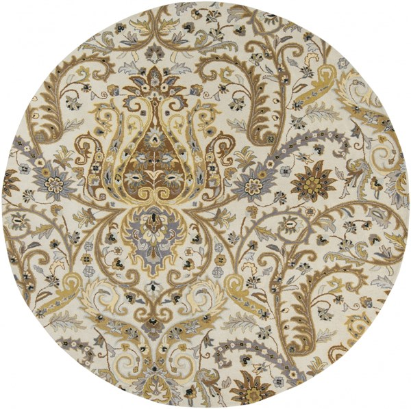 Ancient Treasures Gray Lime Beige Wool Round Area Rug (L 96 X W 96) A165-8RD