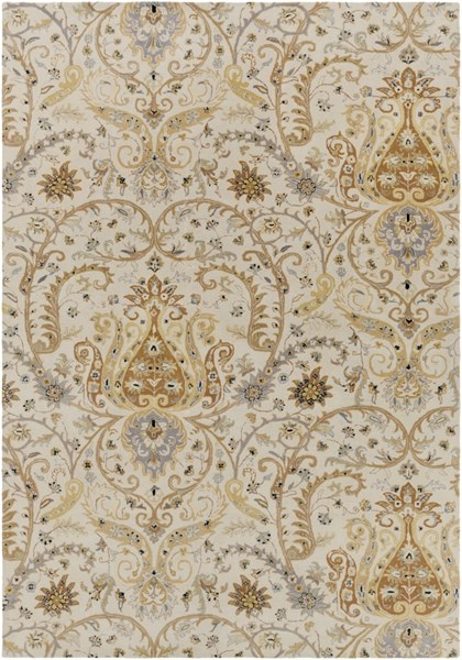 Ancient Treasures Gray Lime Beige Wool Area Rug (L 156 X W 108) A165-913