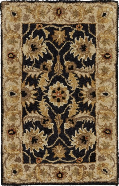 Ancient Treasures Traditional Black Gold Olive Wool Rugs 1144-VAR1