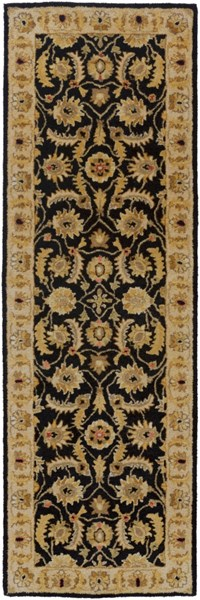 Ancient Treasures Black Gold Olive Wool Runner (L 96 X W 30) A171-268