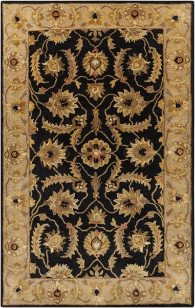 Ancient Treasures Black Gold Olive Wool Area Rug (L 96 X W 60) A171-58