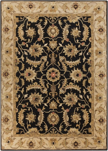 Ancient Treasures Black Gold Olive Wool Area Rug (L 132 X W 96) A171-811