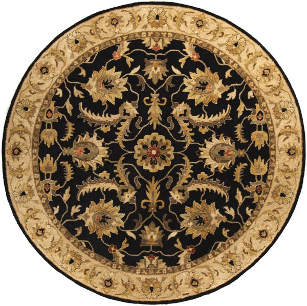 Ancient Treasures Black Gold Olive Wool Round Area Rug (L 96 X W 96) A171-8RD