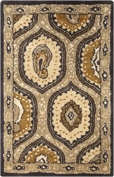 Ancient Treasures Traditional Gray Charcoal Gold Wool Rugs 1146-VAR1