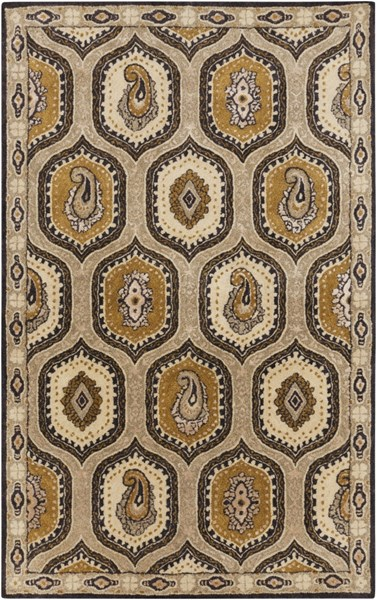 Ancient Treasures Gray Charcoal Gold Wool Area Rug (L 96 X W 60) A173-58