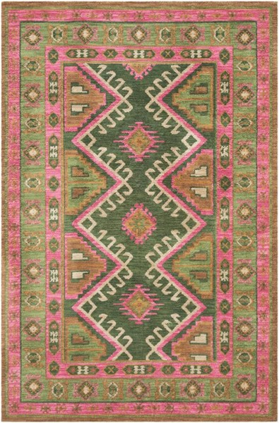 Surya Arabia Grass Green Tan Bright Pink Polyester Area Rug - 114x90 ABA6264-7696