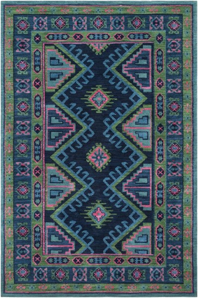 Surya Arabia Bright Blue Ink Grass Green Pink Polyester Area Rug - 144x108 ABA6265-912