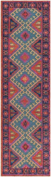 Surya Arabia Bright Purple Orange Teal Dark Blue Polyester Runner - 96x27 ABA6267-238