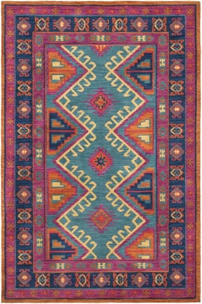 Surya Arabia Bright Purple Orange Teal Dark Blue Polyester Area Rug - 36x24 ABA6267-23