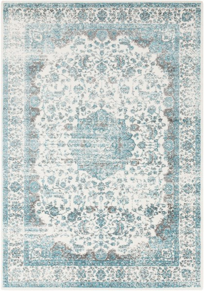 Aberdine Traditional Teal Light Gray Lime Polypropylene Area Rugs 12781-VAR1
