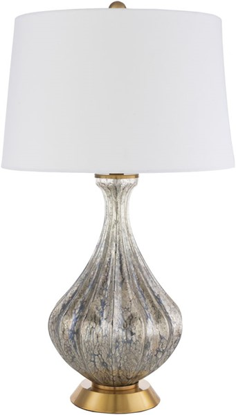 Surya Abram White Glass Metal Table Lamp - 16x28 ABM-002