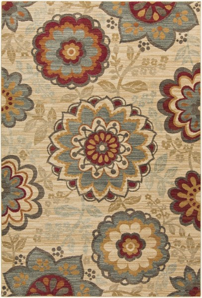 Arabesque Rust Olive Burgundy Polypropylene Area Rug (L 87 X W 63) ABS3015-5373