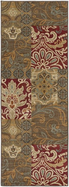 Arabesque Burgundy Olive Rust Polypropylene Runner (L 87 X W 31) ABS3025-2773
