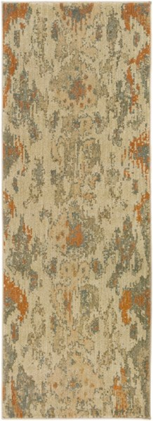 Arabesque Beige Rust Olive Polypropylene Runner (L 87 X W 31) ABS3057-2773
