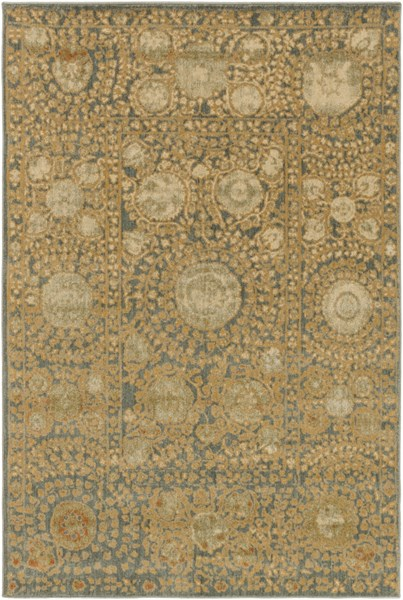 Arabesque Charcoal Gold Beige Polypropylene Area Rug (L 87 X W 63) ABS3060-5373